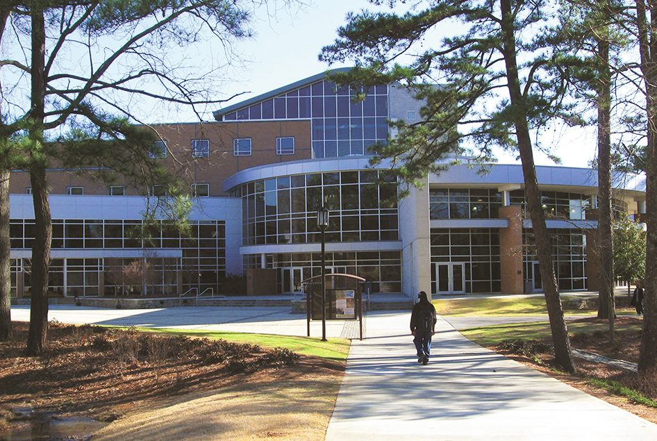 glass facade at Clayton State University