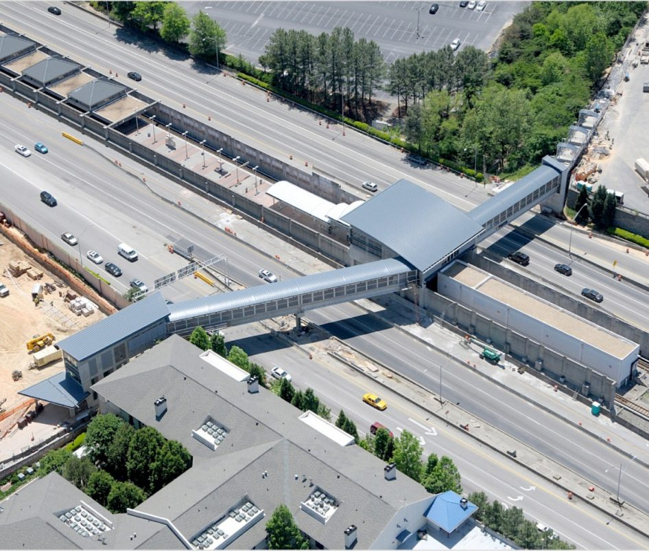 aerial view of Marta Buckhead Bridge